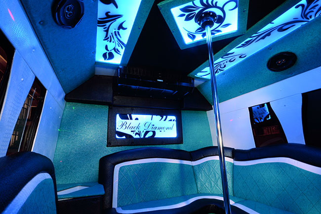 Pearl limo party bus OKC interior
